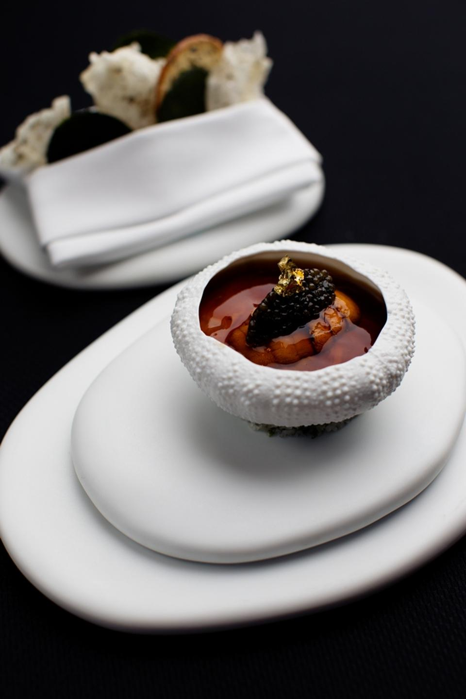 Hokkaido-Sea-Urchin-in-a-Lobster-Jell-O-with-Cauliflower-Caviar-and-Crispy-Seaweed-Waffles-Amber-Hong-Kong